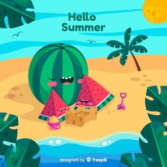 Hand getrokken watermeloen familie zomer achtergrond