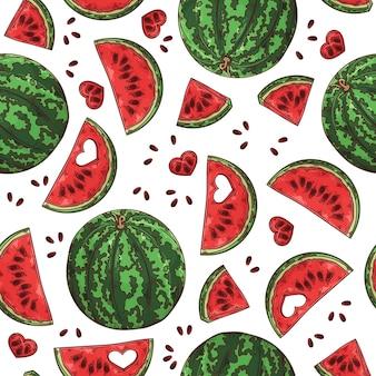 Hand getrokken watermeloen. naadloze patroon.
