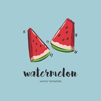 Hand getrokken watermeloen
