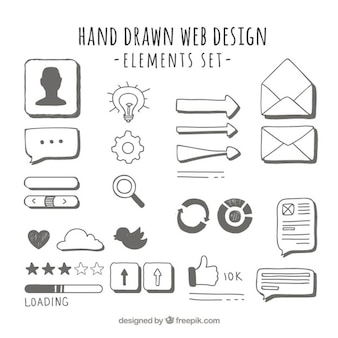 Hand getrokken web elementen