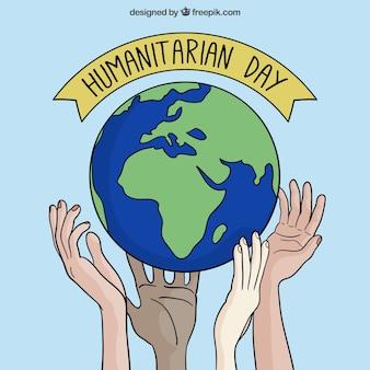 Hand getrokken wereld achtergrond van de humanitaire dag