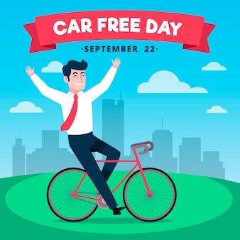 Hand getrokken wereld auto vrije dag achtergrond met man