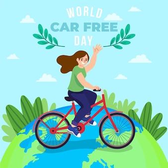 Hand getrokken wereld auto vrije dag concept