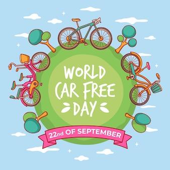 Hand getrokken wereld auto vrije dag met fietsen