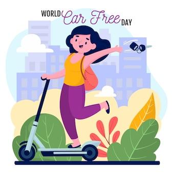 Hand getrokken wereld auto vrije dag