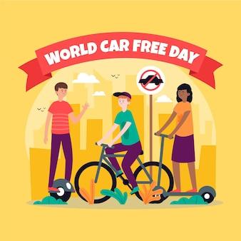 Hand getrokken wereld autovrije dag evenement