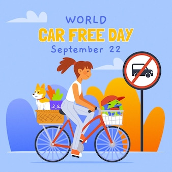 Hand getrokken wereld autovrije dag illustratie met vrouw op een fiets