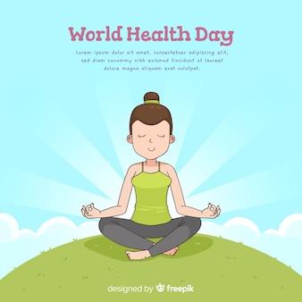 Hand getrokken wereld dag van de gezondheid achtergrond