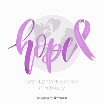 Hand getrokken wereld kanker dag achtergrond