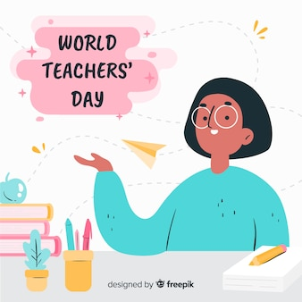 Hand getrokken wereld lerarendag