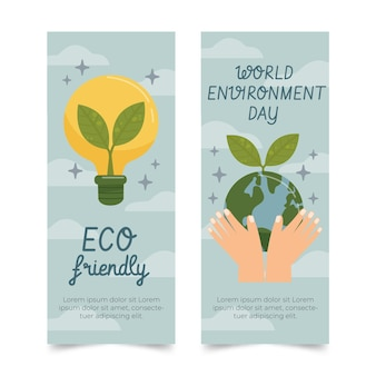 Hand getrokken wereld milieu dag banners instellen
