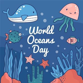 Hand getrokken wereld oceands dag concept