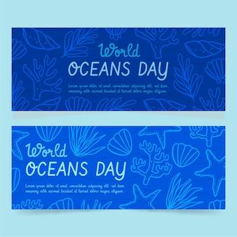 Hand getrokken wereld oceanen dag banners instellen