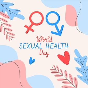 Hand getrokken wereld seksuele gezondheid dag achtergrond