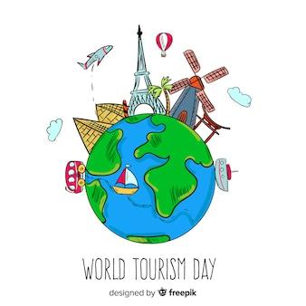 Hand getrokken wereld toerisme dag concept