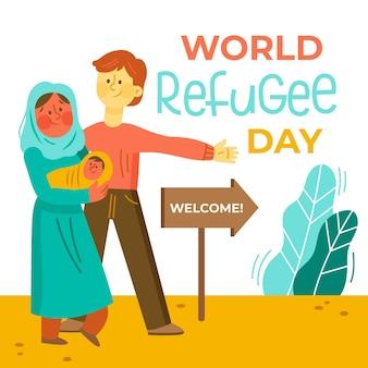 Hand getrokken wereld vluchtelingendag illustratie