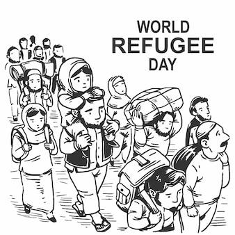 Hand getrokken wereld vluchtelingendag met vader en zoon gratis vector