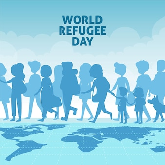 Hand getrokken wereld vluchtelingendag