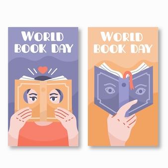 Hand getrokken wereldboek dag banners