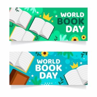 Hand getrokken wereldboekdag banners instellen