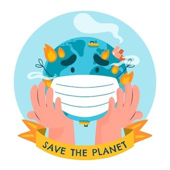 Hand getrokken wereldmilieudag bewaar de planeetillustratie
