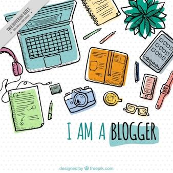 Hand getrokken werkplek van een blogger achtergrond