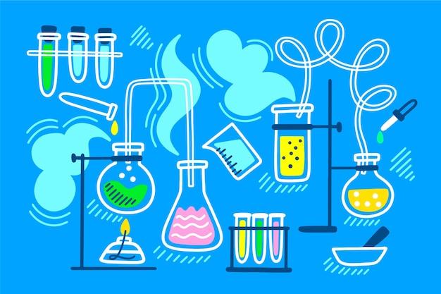 Hand getrokken wetenschappelijk laboratorium