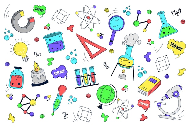 Hand getrokken wetenschappelijk onderwijs achtergrond