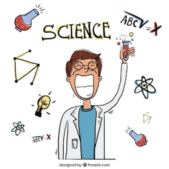 Hand getrokken wetenschapper met een reageerbuis