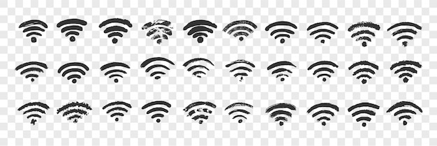 Hand getrokken wifi teken doodle set