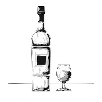 Hand getrokken wijn schets