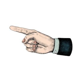 Hand getrokken wijzende hand