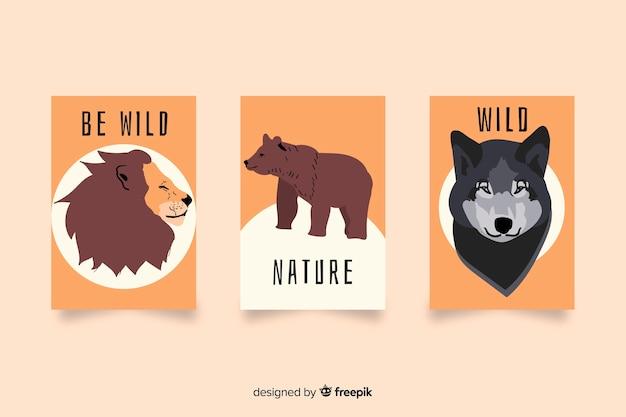 Hand getrokken wild dier kaartcollectie