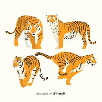 Hand getrokken wilde tijger collectie