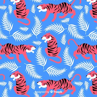 Hand getrokken wilde tijger patroon
