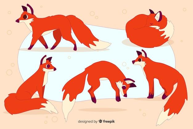 Hand getrokken wilde vos collectie