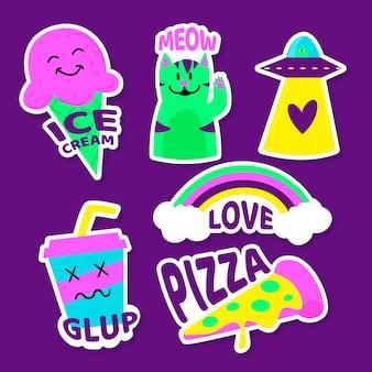 Hand getrokken willekeurige stickers in zure kleuren
