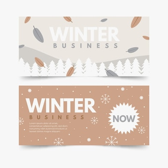 Hand getrokken winter banners set