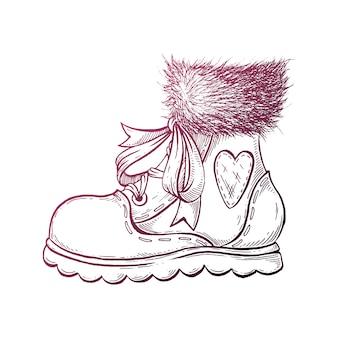 Hand getrokken winter laarzen.