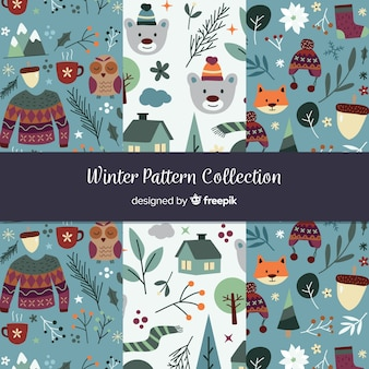 Hand getrokken winter patroon collectie