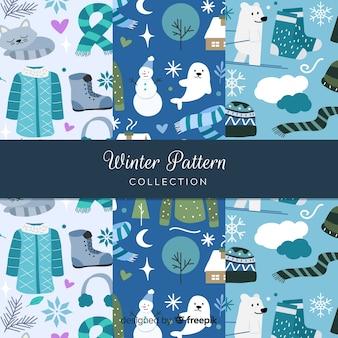 Hand getrokken winter patroon collectie