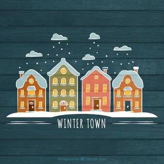 Hand getrokken winter stad