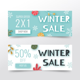 Hand getrokken winter verkoop banners
