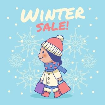 Hand getrokken winter verkoop