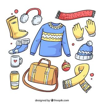 Hand getrokken winterkleren & essentials