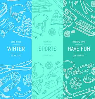 Hand getrokken wintersportuitrusting en attributen
