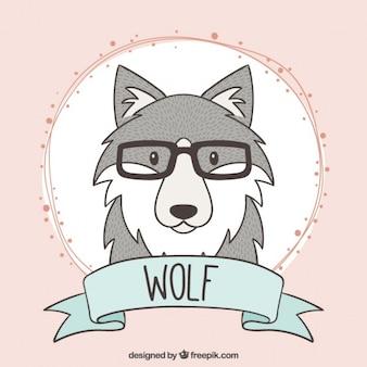 Hand getrokken wolf met een bril