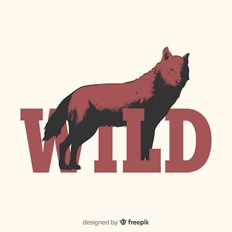 Hand getrokken wolf met woordachtergrond