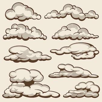 Hand getrokken wolken in vintage stijlenset