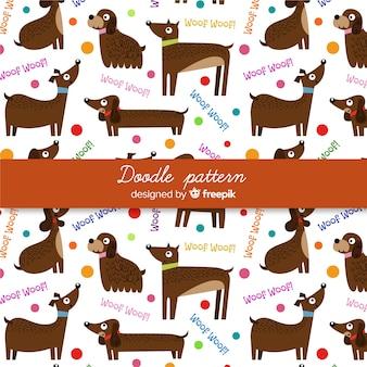 Hand getrokken woorden en honden patroon